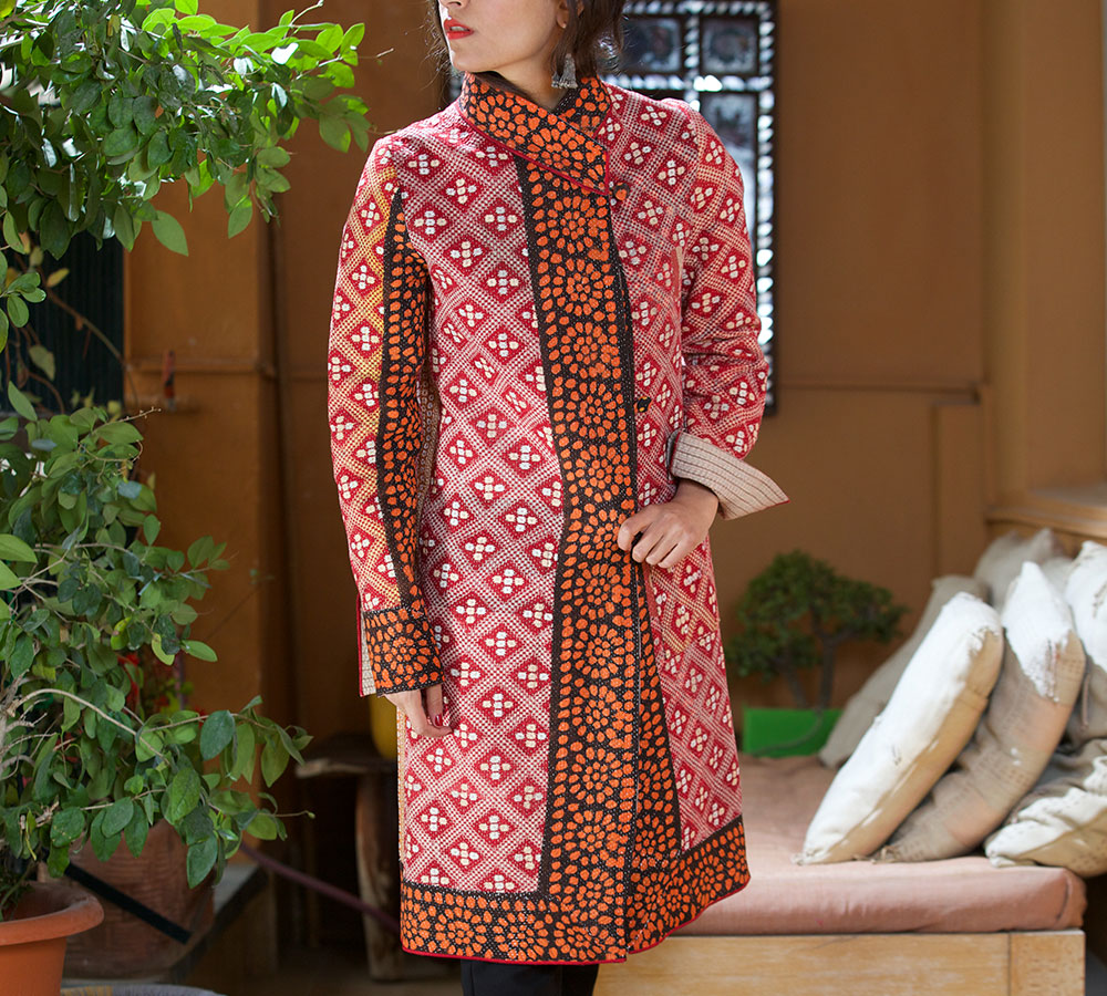 kantha mid length jacket