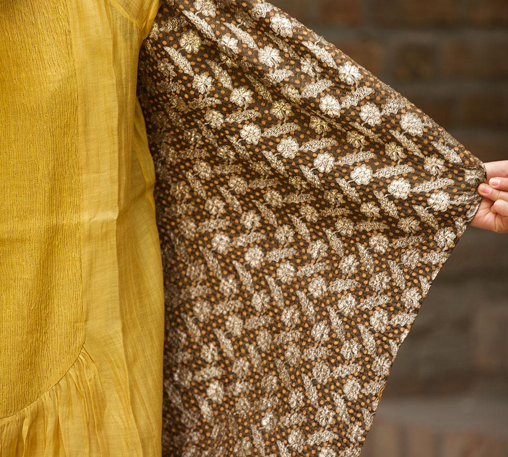 kantha long jacket made with antic sari