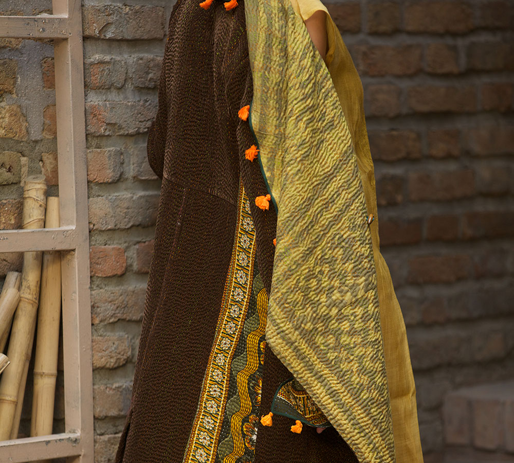 kantha long jacket made with antic sari