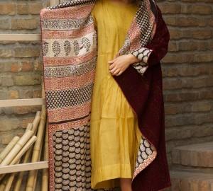 kantha long jacket (velvet & block printed cotten)