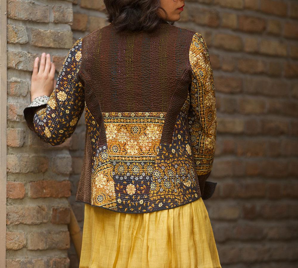 short kantha velvet jacket combined with block printed kantha