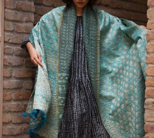 kantha old sari shawl