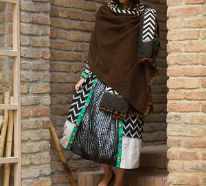 velvet kantha shawls (velvet & block printed cotton)
