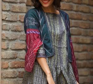 shibori dress with original turckman jacket