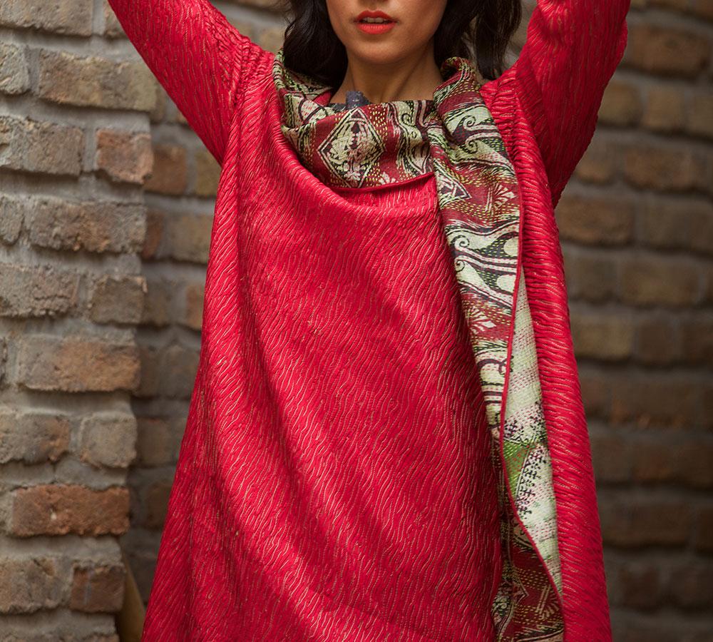 pin-tucked silk abhai style dress coat