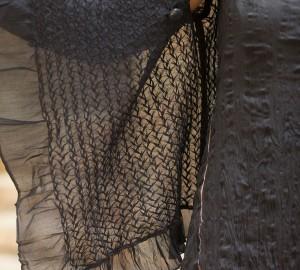 shibori silk georgette dress with hand embroidered silk cotton short jacket