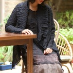 shibori silk georgette dress with hand embroidered silk cotton short jacket