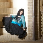 afghani silk skirt with antic blue sari jacket
