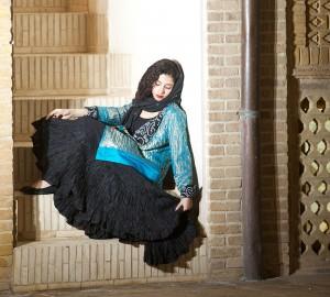 afghani silk skirt with antic blue sari jacket