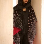 kantha long jacket velvet with black and white block printing