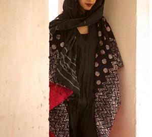 kantha long jacket velvet with black and white block printing