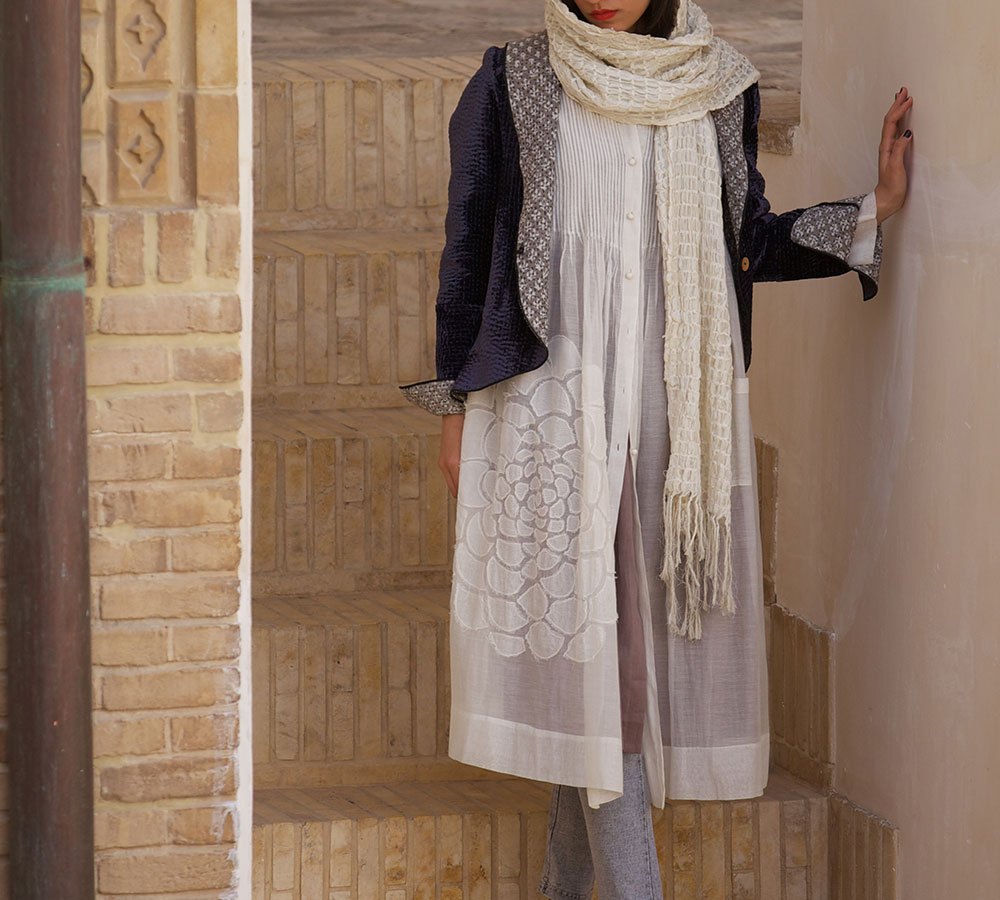 white cotton silk dress coat with gray velvet jacket