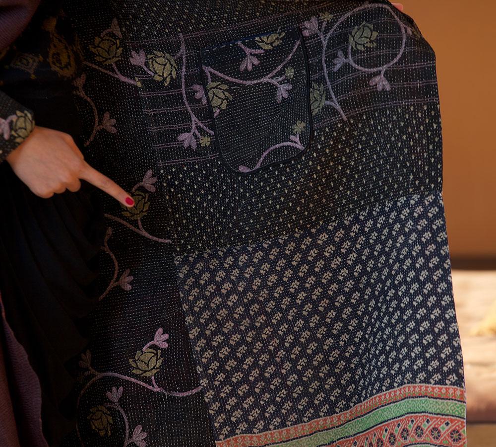 kantha long jacket(silk)
