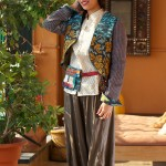 short jacket with afghani style silk pants