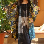 kantha long jacket with black and white georgette silk
