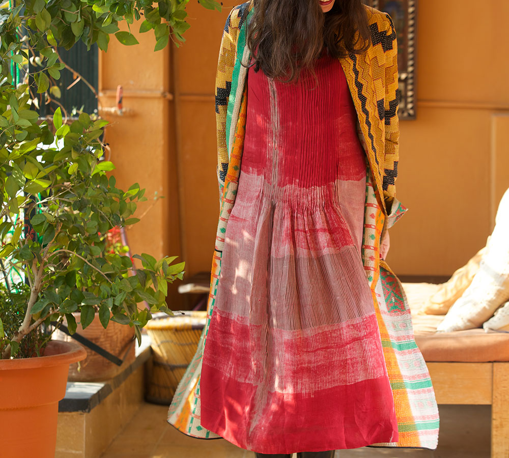 kantha long jacket with red shibori