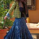 short kantha jacket with afghani cotton skirt