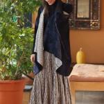kimono style velvet kantha with afghani gray skirt