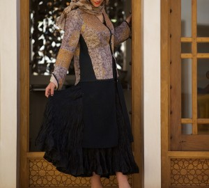 kantha dress coat on silk afghani skirt